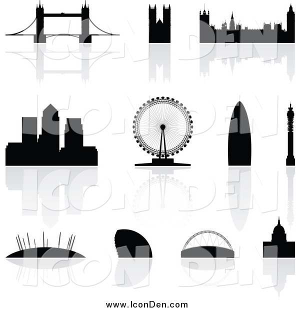 Clip Art of Silhouetted London Landmarks with Reflections