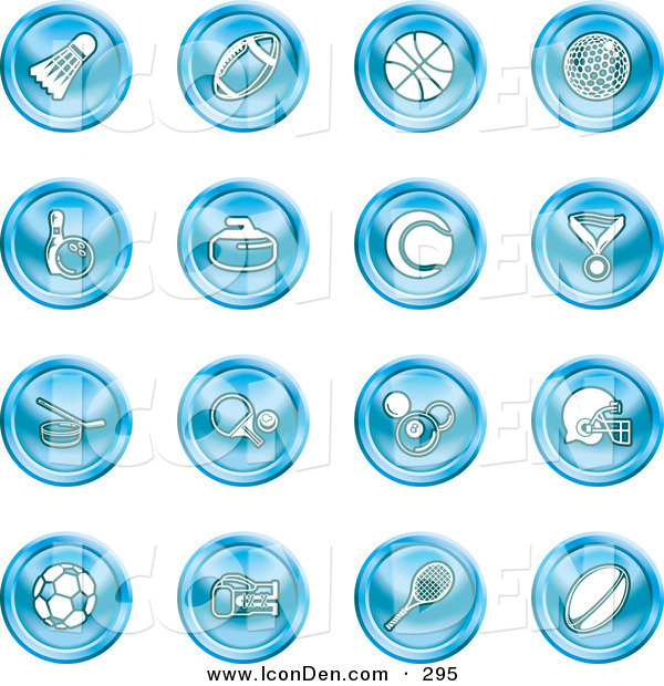 Clip Art of Sixteen Blue Athletics Icons of a Badmitten Shuttlecock, Football, Basketball, Golf Ball, Bowling, Curling Stone, Tennis, Medal, Hockey, Ping Pong, Billiards, Football Helmet, Soccer Ball, Boxing, and Rugby