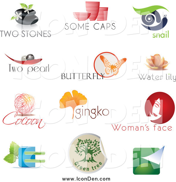 Clip Art of Spa, Pottery, Snail, Pearl, Butterfly, Lotus, Cocoon, Ginkgo, Beauty and Eco Logo Icons