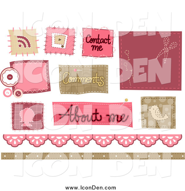 Clip Art of Stitched Sewing Website Icons