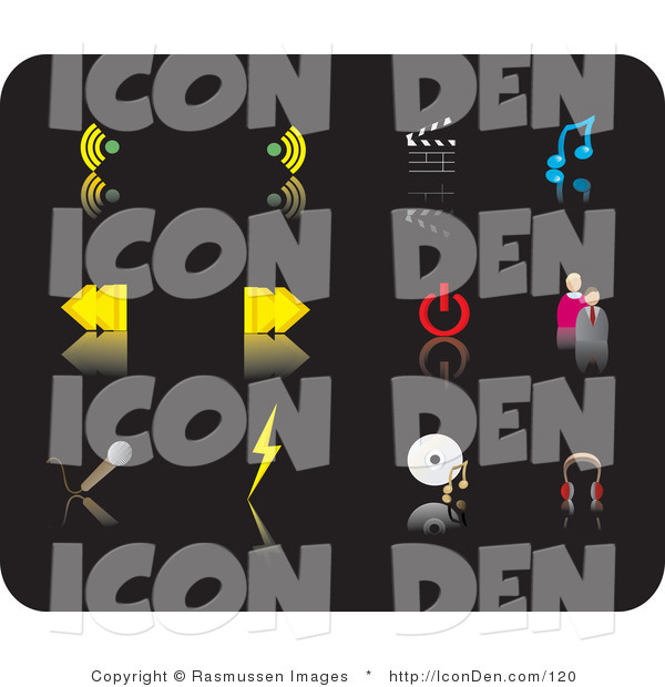 Clip Art of Twelve Media Picture Icons on a Black Background