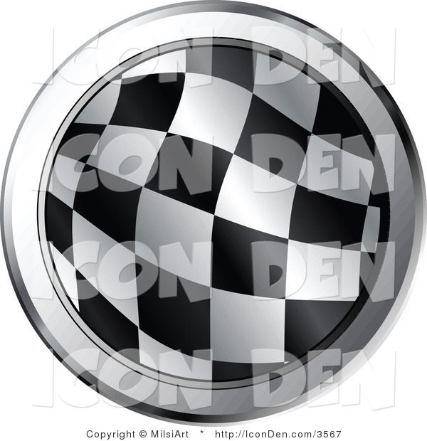 Vector Clip Art of a Round Checkered Racing Flag Icon with Chrome Trimming