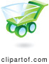 Clip Art of a 3d Green and Blue Shopping Cart Icon by Cidepix