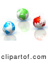 Clip Art of a 3d Rendered Blue, Green and Red Earth Globes on Reflective Surfaces by Tonis Pan