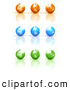 Clip Art of a 3d Rendered Set of Nine Orange, Blue and Green Earth Globe Icons by Tonis Pan