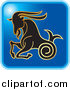 Clip Art of a Blue Square Capricorn Astrology Icon Design by Lal Perera