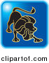 Clip Art of a Blue Square Leo Astrology Horoscope Icon by Lal Perera