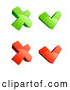 Clip Art of a Bright Set of Four Green and Red X and Check Mark Icons, on a White Background by Beboy