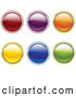 Clip Art of a Collection of 6 Red, Purple, Orange, Yellow, Blue and Green Internet Buttons with Bright Light Rays by Elaineitalia