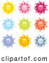 Clip Art of a Collection of 9 Yellow, Pink, Red, Blue, Green, Orange and Purple Floral or Sun Icons on a White Background by Elaineitalia