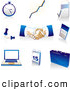 Clip Art of a Collection of Blue, Tan and White Pocketwatch, Graph, Letter, Push Pins, Handshakes, Calculator, Laptop Computer, Calendar and Briefcase Icons Badges, over White by Tonis Pan