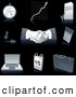 Clip Art of a Collection of Gray and Silver Business, Pocketwatch, Graph, Letter, Push Pins, Handshakes, Calculator, Laptop Computer, Calendar and Briefcase Icons, over Black by Tonis Pan
