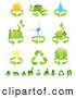 Clip Art of a Collection of Green Energy Icons over White by Tonis Pan
