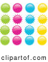 Clip Art of a Collection of Green, Pink, Blue and Yellow Star Bursts or Suns in Rows over a White Background by Elaineitalia
