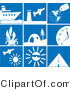 Clip Art of a Collection of Nine White Travel Picture Icons on a Tiled Blue Background by Rasmussen Images