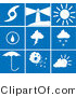 Clip Art of a Collection of Nine White Weather Picture Icons on a Blue Tile Background by Rasmussen Images
