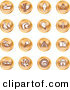 Clip Art of a Collection of Orange Coin Icons of on a White Background by AtStockIllustration