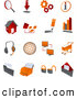 Clip Art of a Collection of Red and Orange Internet Icons - Bar Graph, Office, Web, Privacy, Lock, Security, Settings, Information, Download, Printer on a White Background by Tonis Pan