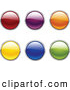 Clip Art of a Collection of Six Green, Blue, Yellow, Orange, Purple and Red Circular Web Buttons on a White Background by Elaineitalia