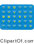 Clip Art of a Collection of Thirty Small Yellow Media Button Icons on a Blue Background by Rasmussen Images