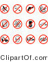 Clip Art of a Collection of Twelve Restriction Icons Showing No Running, Smoking, Guns, Fast Food, Beer, Atoms, Cell Phones, Driving, Skating, Aliens, Shoes, and Bells on White by AtStockIllustration