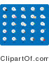 Clip Art of a Collection of Twenty-Five CD and Disc Icons on a Blue Background by Rasmussen Images