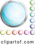 Clip Art of a Collection of Various Shiny Blue, Green, Purple, Pink, Red, Orange and Yellow Internet Buttons by Beboy