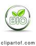 Clip Art of a Eco Friendly Shiny White Bio Website Button with Two Green Leaves and Chrome Trim by Beboy