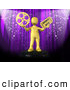 Clip Art of a Golden Man with a Film Wheel and Ticket in Front of a Purple Theater Curtain with Confetti by 3poD