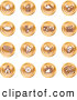 Clip Art of a Group of 16 Round Orange Entertainment Icons by AtStockIllustration
