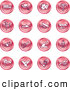 Clip Art of a Group of 16 Round Red Work Icons by AtStockIllustration