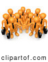 Clip Art of a Group of Orange Business People Carrying Briefcases and Standing with Their Hands Piled, Symbolizing Teamwork, Cooperation, Support, Unity and Goals, on White by 3poD