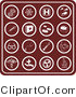 Clip Art of a Group of Sixteen Round and Red Medical Icons Including Dna, Molecules, Hospital Signs, Pills, Syringes, First Aid Kids, Rx, Doctor Bag, Glasses, Stethoscopes, Thermometers, and Microscopes by AtStockIllustration