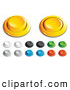 Clip Art of a Group of Yellow, White, Black, Green, Blue and Red Push Buttons for a Game or Web Design Element by Beboy