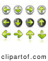 Clip Art of a Matching Set of 12 Green Upload, Download, Back and Forth Buttons by Beboy