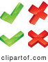 Clip Art of a Pair of Green Check Marks and Two Red X Marks, on a White Background by Beboy
