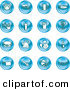 Clip Art of a Set of 16 Blue Icons of Food and Kitchen Items by AtStockIllustration