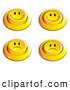 Clip Art of a Set of 4 Yellow Push Buttons with Frowning and Smiling Faces by Beboy