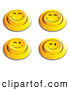 Clip Art of a Set of 4 Yellow Push Buttons with Grinning and Winking Faces by Beboy