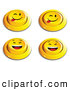 Clip Art of a Set of 4 Yellow Push Buttons with Laughing and Teasing Faces by Beboy