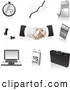 Clip Art of a Set of Black, Silver and Tan Business Icons, over White by Tonis Pan