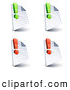 Clip Art of a Set of Four Lined and Blank Office Document Pages with Green and Red Exclamation Points, on a White Background by Beboy
