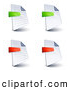 Clip Art of a Set of Four Lined and Blank Office Document Pages with Green and Red Minus and Subtraction Symbols, on a White Background by Beboy