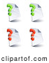 Clip Art of a Set of Four Lined and Blank Office Document Pages with Green and Red Question Marks, on a White Background by Beboy