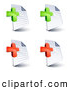 Clip Art of a Set of Four Lined and Blank Pages Office Documents with Green and Red Plus and Addition Symbols, on a White Background by Beboy