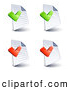 Clip Art of a Set of Four Lined and Blank Pages with Green and Red Office Check Marks, on a White Background by Beboy