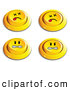 Clip Art of a Set of Four Yellow Push Buttons with Dead and Angry Faces, on White by Beboy