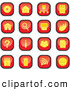 Clip Art of a Set of Red and Yellow Square Computer Icon Buttons of Discs, Email, Information, Trash and Garbage by Paulo Resende