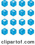 Clip Art of a Set of Sixteen Blue Cube Icons of Arrows, Joystick, Button, Printer, Information, Compose, Reminder, Calculator and Cubes by AtStockIllustration