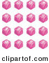 Clip Art of a Set of Sixteen Pink Cube Icons of Searches, View Finders, Www, Magnifying Glasses, Dogs, Flashlight, and Spider by AtStockIllustration